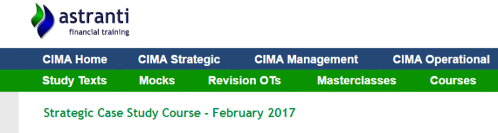 CIMA February 2017 Case Study Exam Tips