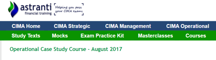 CIMA August 2017 case study tips